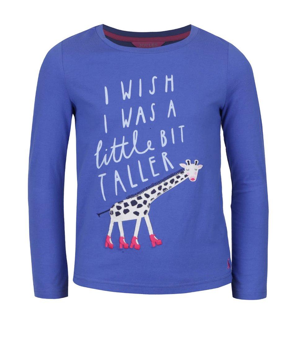 Modré holčičí tričko s potiskem žirafy a dlouhým rukávem Tom Joule Ava