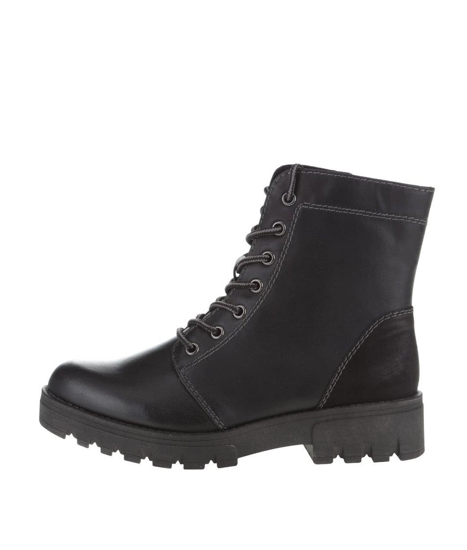 Černé vyšší kotníkové boty na šněrování Tamaris
