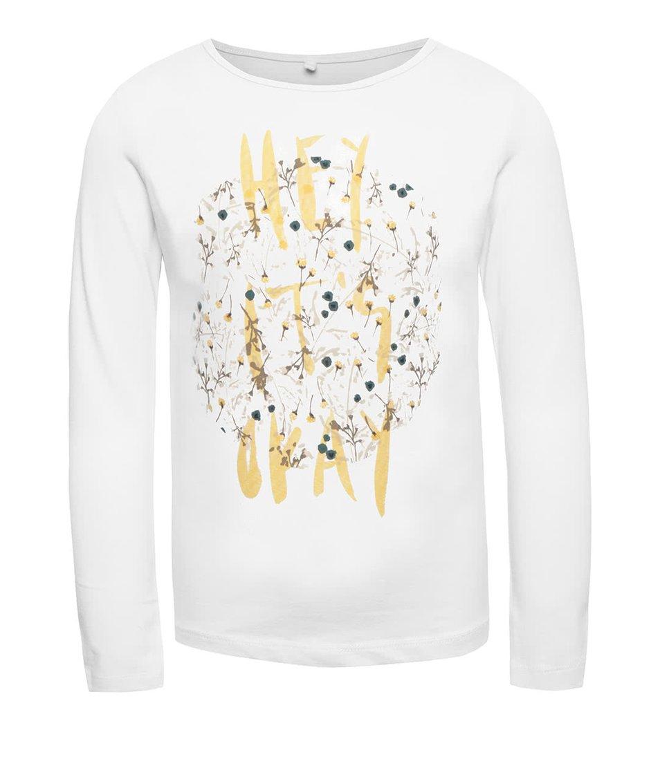 Bílé holčičí tričko s dlouhým rukávem name it Kaja