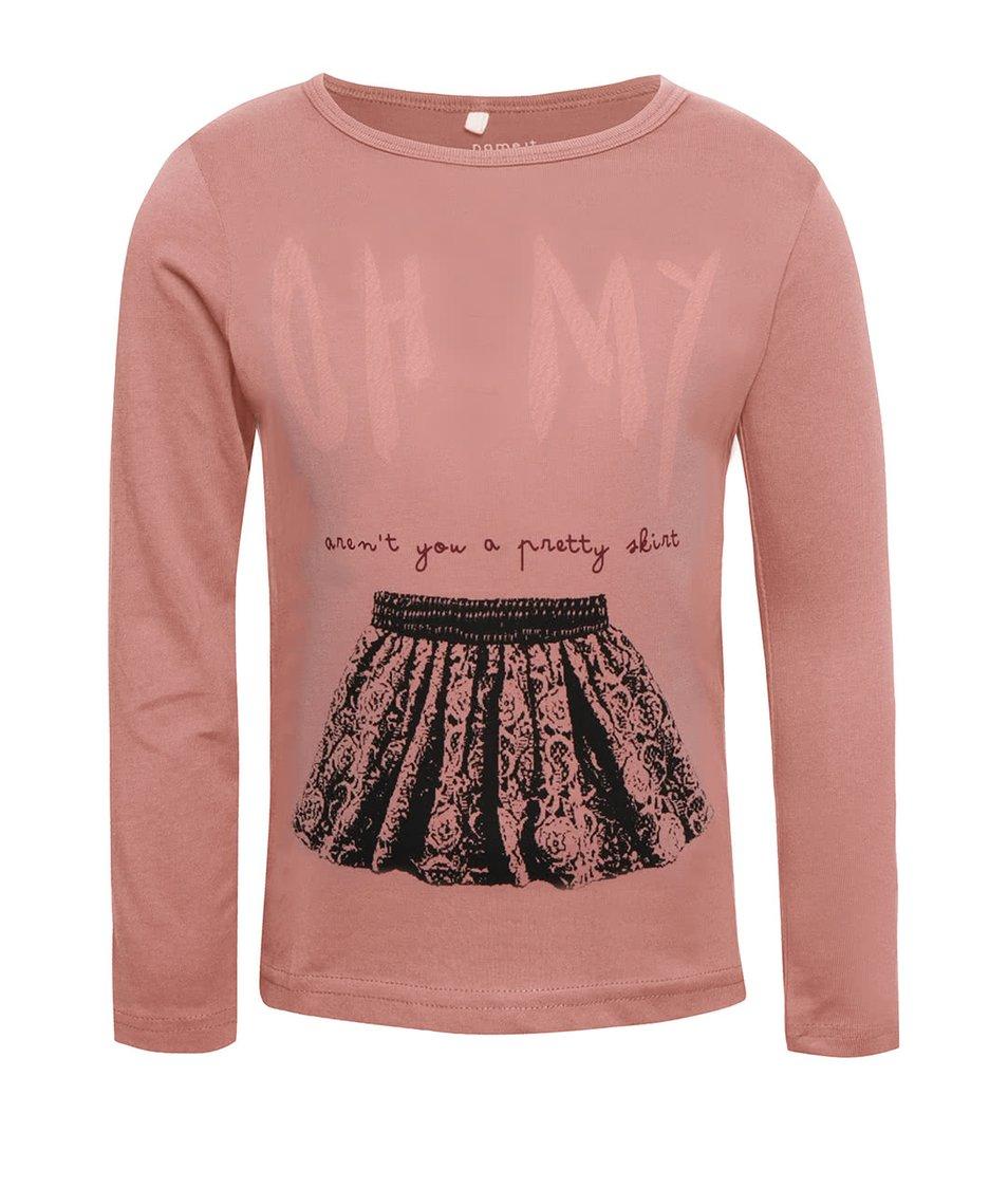 Růžové holčičí tričko s dlouhým rukávem name it Veen