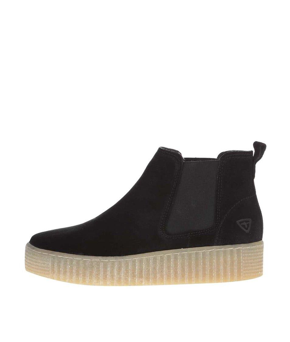 Černé semišové kotníkové chelsea boty na platformě Tamaris