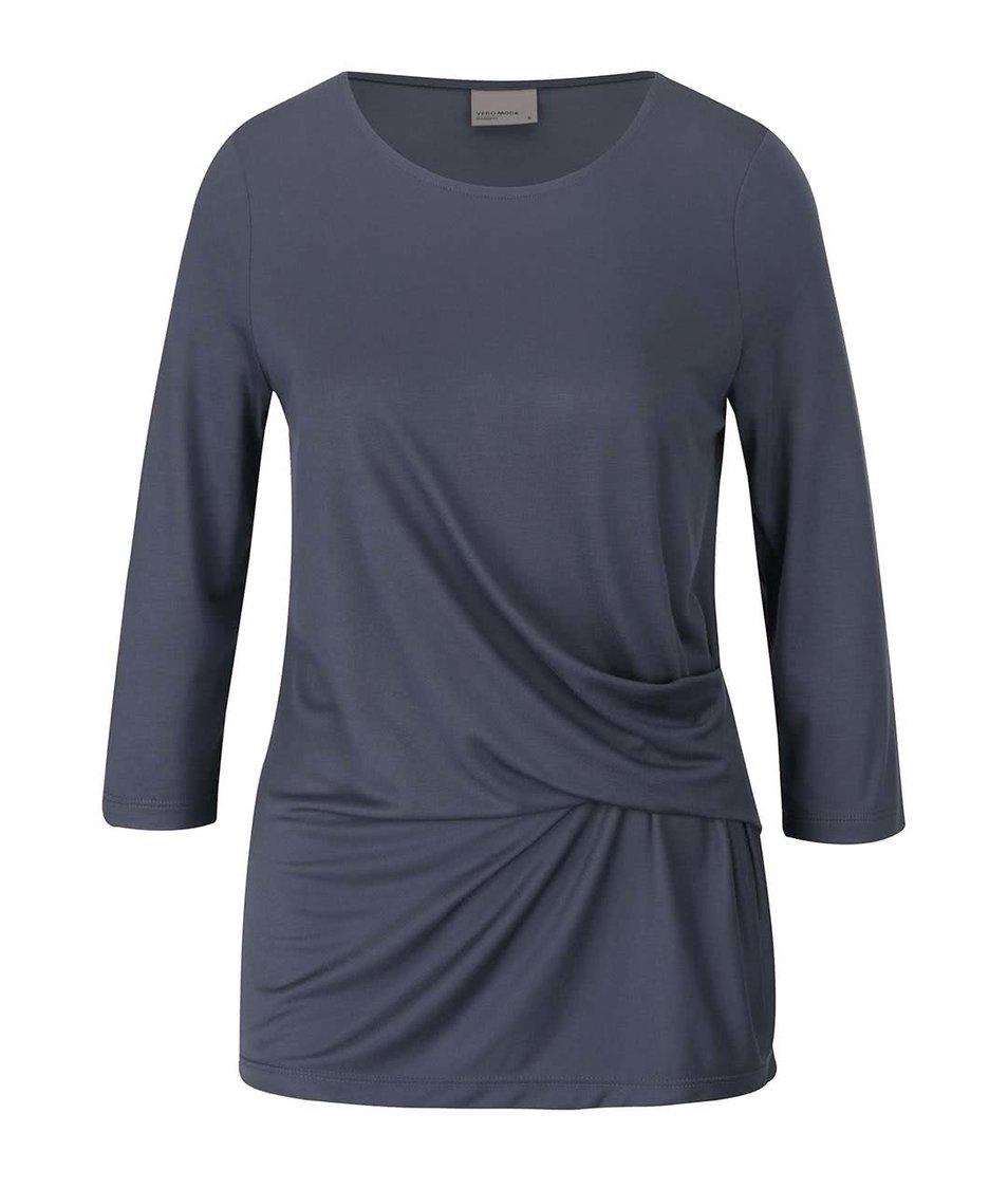 Šedomodré tričko s 3/4 rukávem Vero Moda Monica