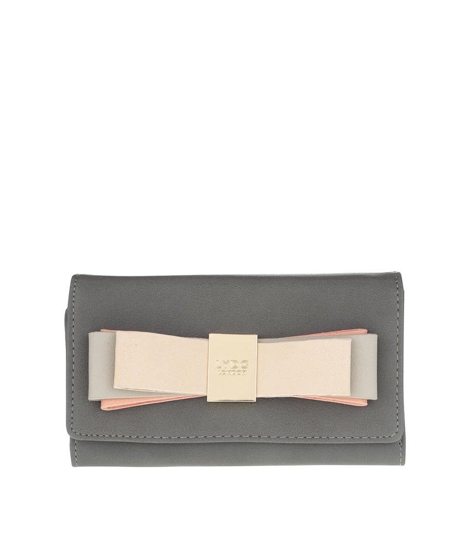 Šedá peněženka s mašlí a detailem ve zlaté barvě LYDC