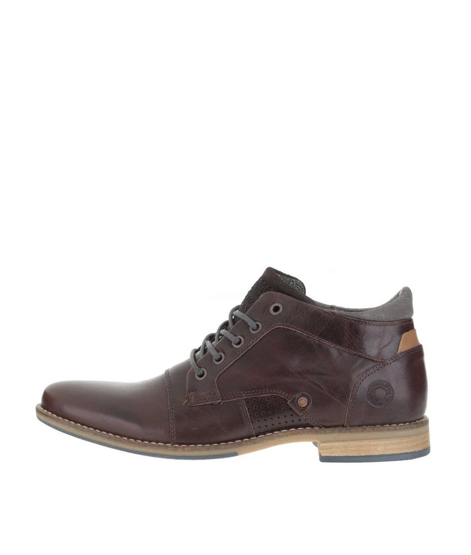 Tmavě hnědé pánské kožené kotníkové boty s šedými detaily Bullboxer