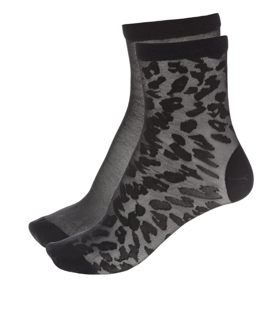 Sada dvou párů černých silonkových ponožek Pieces Erica