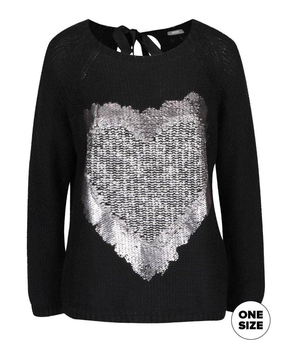 Černý svetr s vázankou a potiskem srdce ZOOT