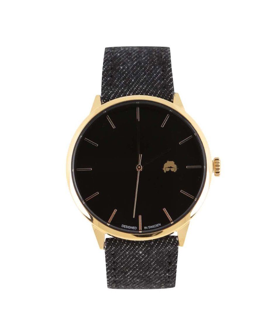 Černé unisex hodinky s džínovým páskem Cheapo Khorshid Ali
