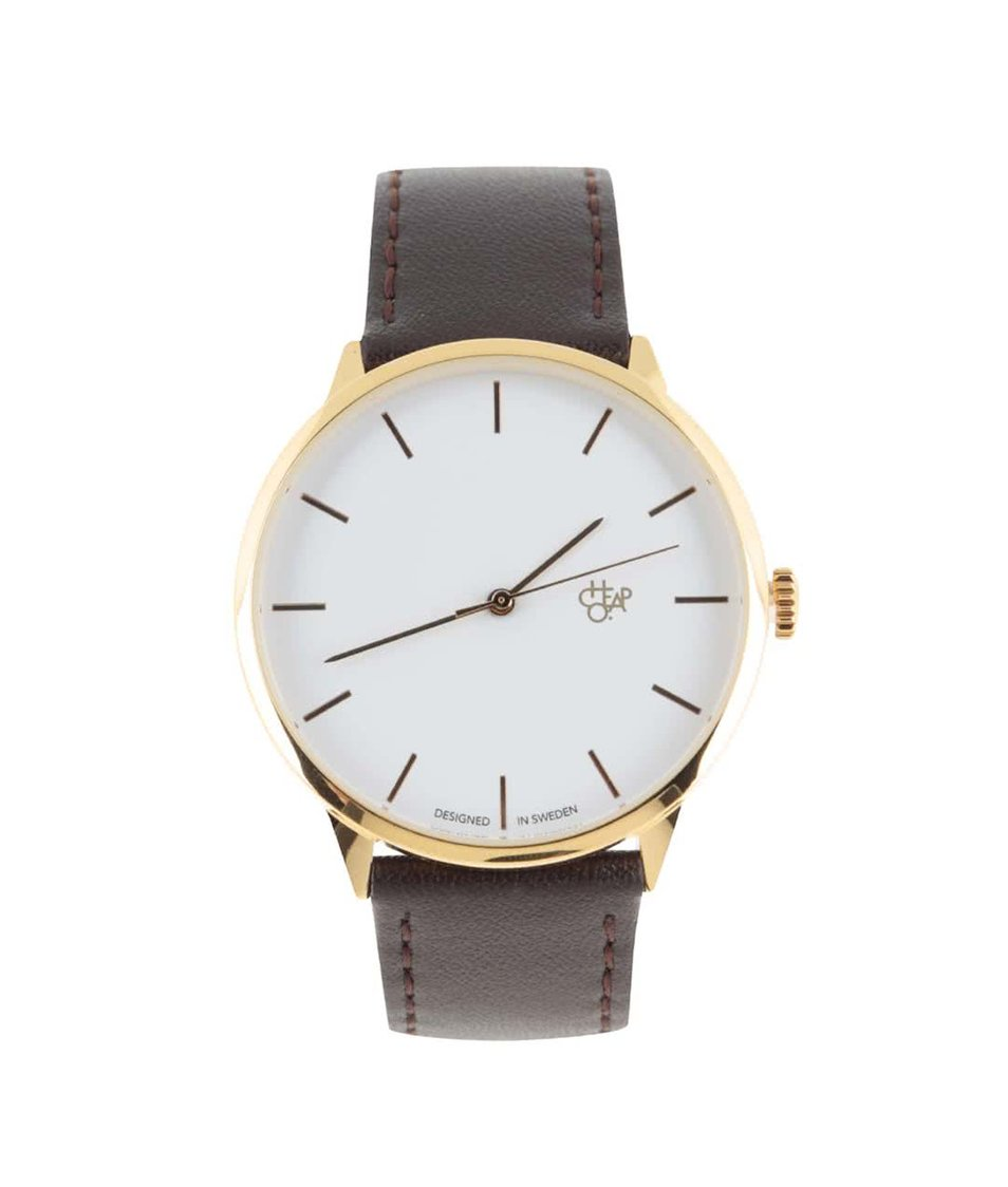Tmavě hnědé unisex kožené hodinky Cheapo Khorshid Gold