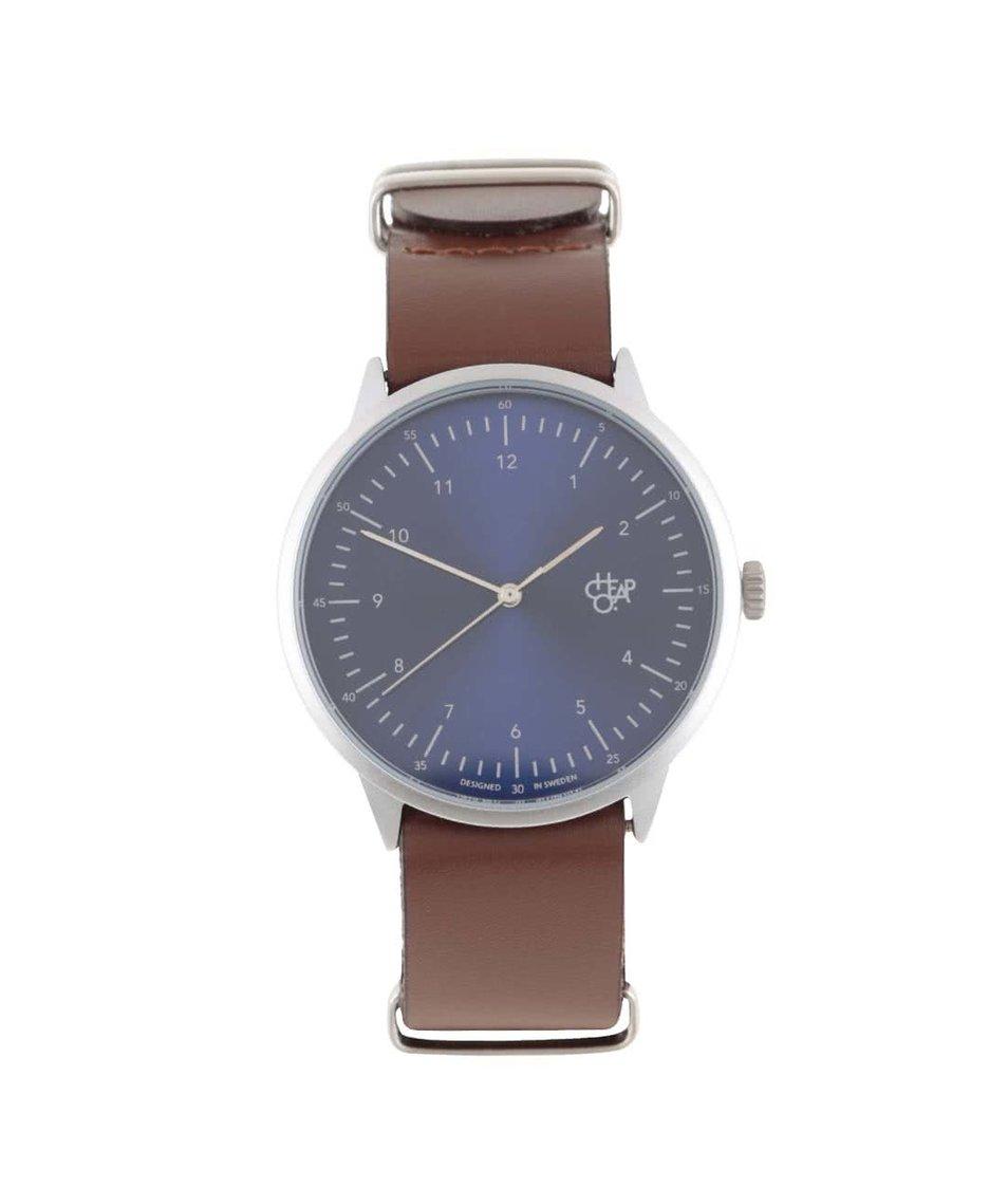Hnědé unisex kožené hodinky Cheapo Harold Navy Metal