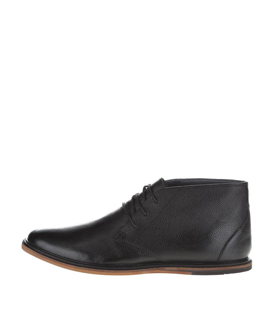 Černé kožené kotníkové boty Frank Wright Walker
