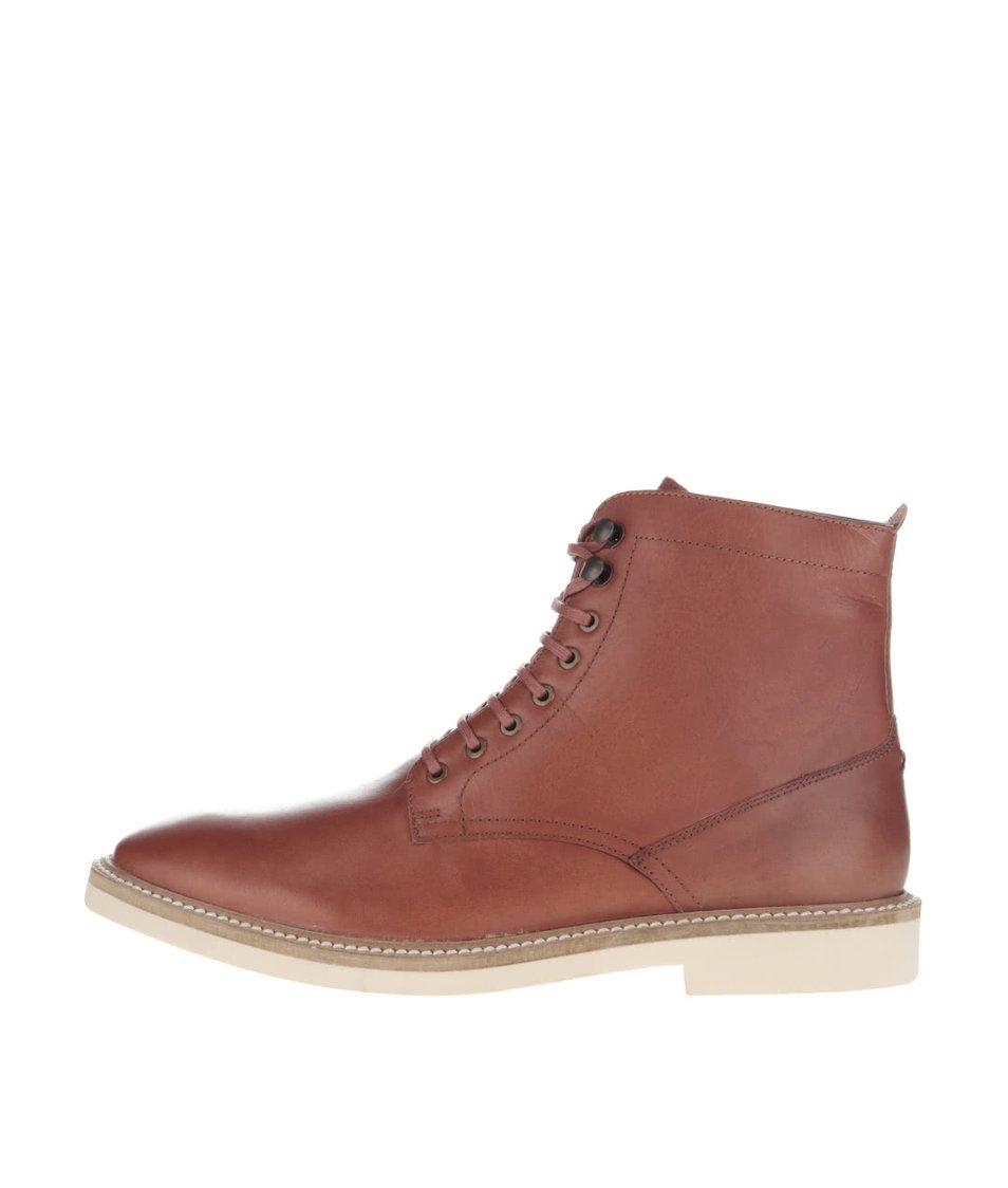 Hnědé kožené šněrovací kotníkové boty Frank Wright Munros