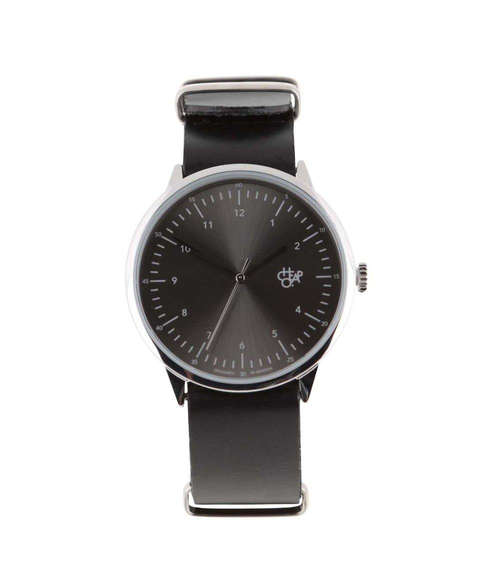 Černé unisex kožené hodinky Cheapo Harold Groove Metal