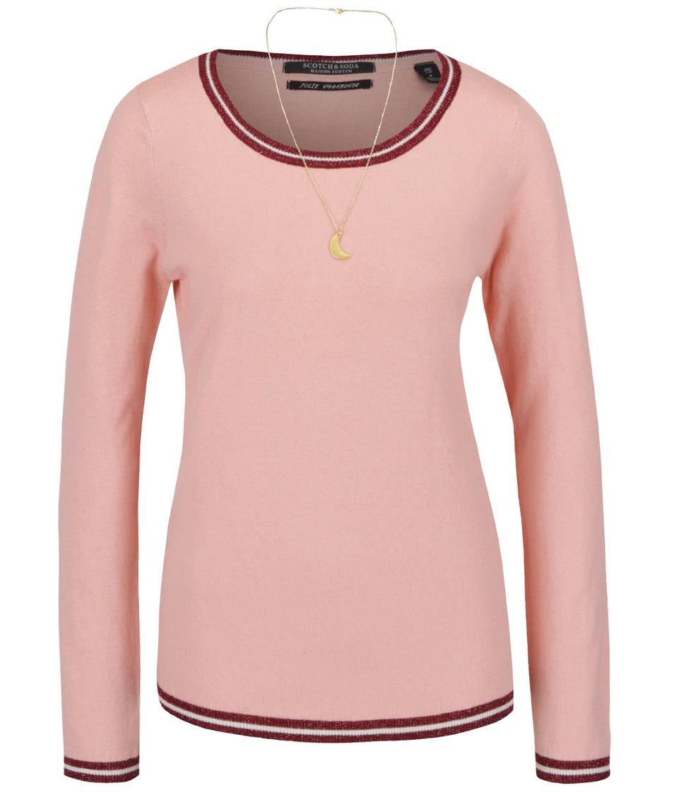 Světle růžový svetr s třpytivým vínovým lemem Maison Scotch