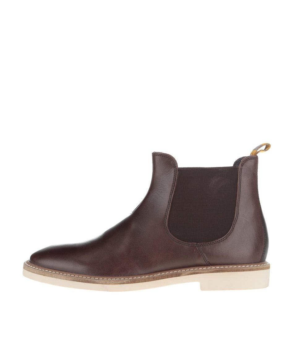 Tmavě hnědé kožené chelsea boty Frank Wright Hazelburn