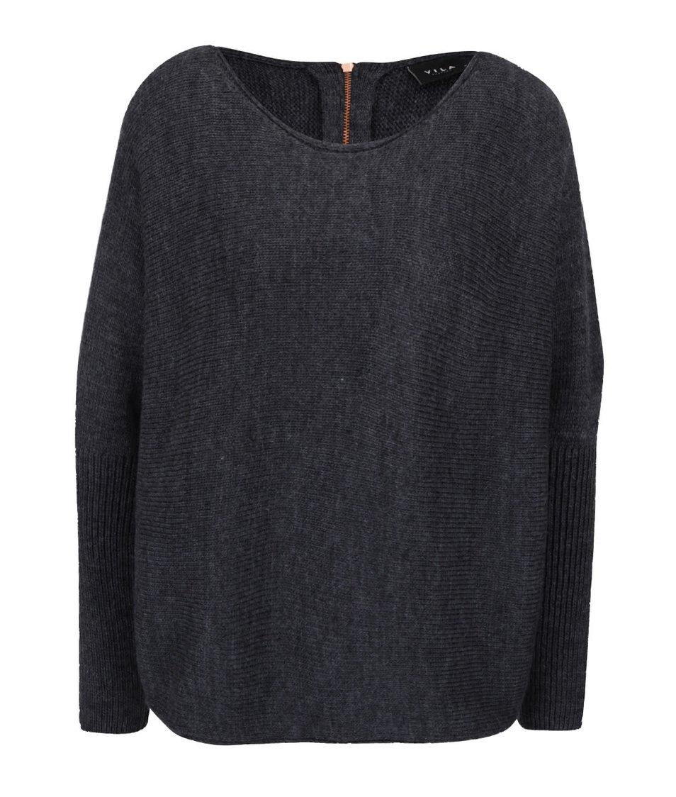 Tmavě šedý volnější svetr s netopýřími rukávy VILA