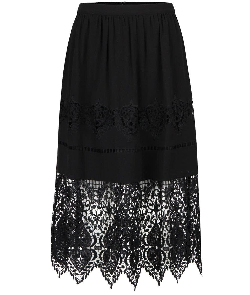 Černá sukně s výraznu krajkou Miss Selfridge