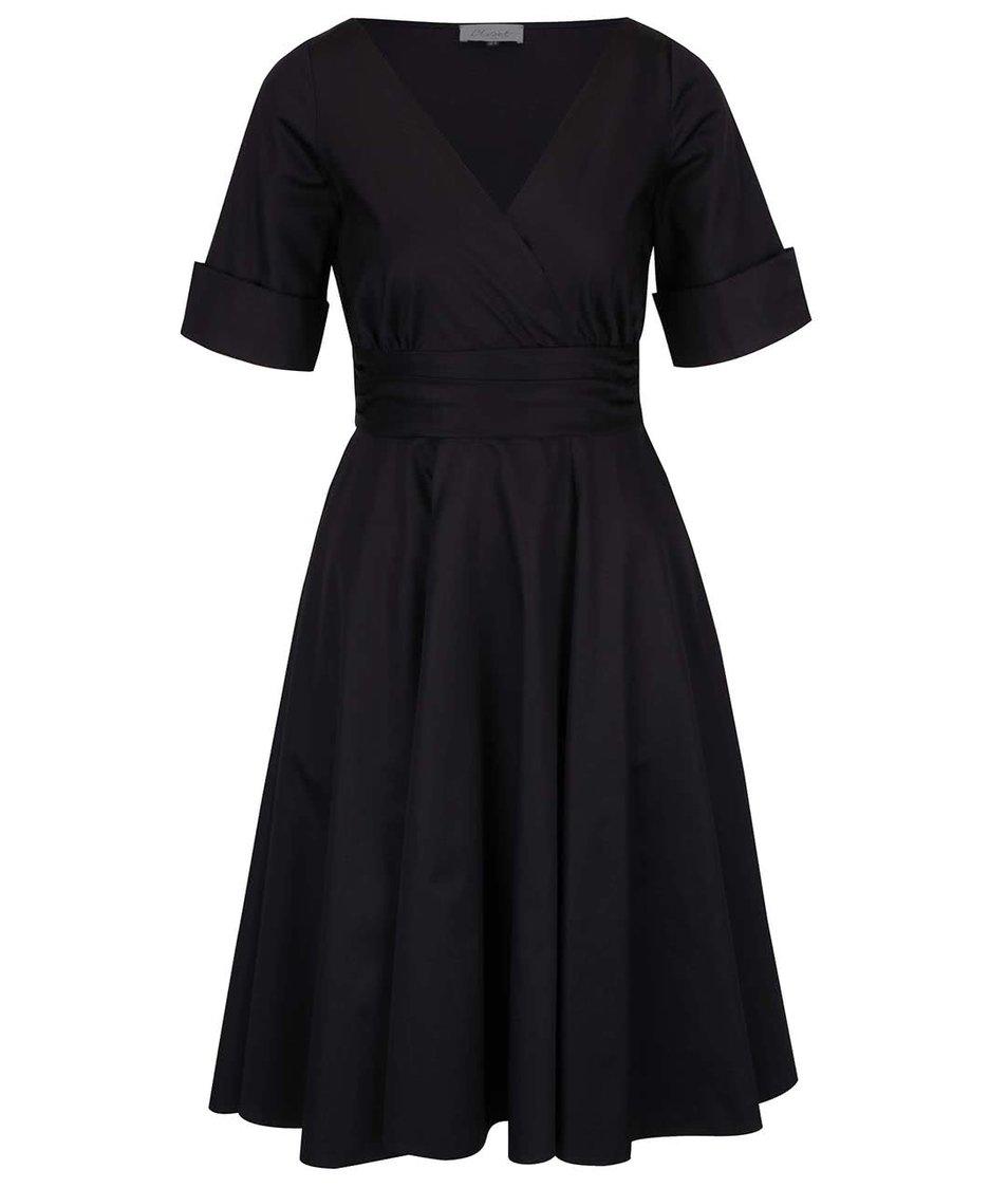 Černé šaty s překládaným výstřihem Closet