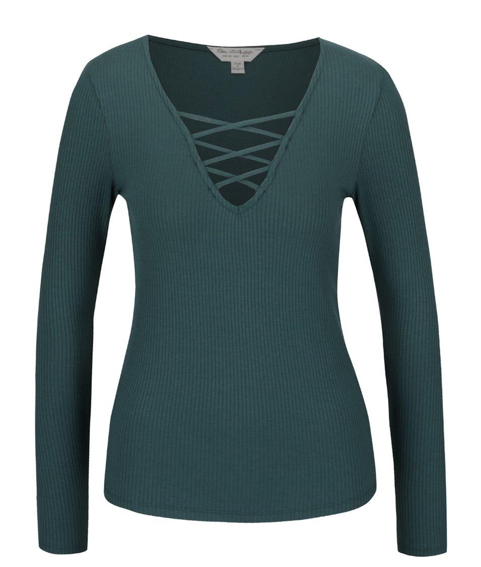 Tmavě zelené tričko s dlouhým rukávem Miss Selfridge