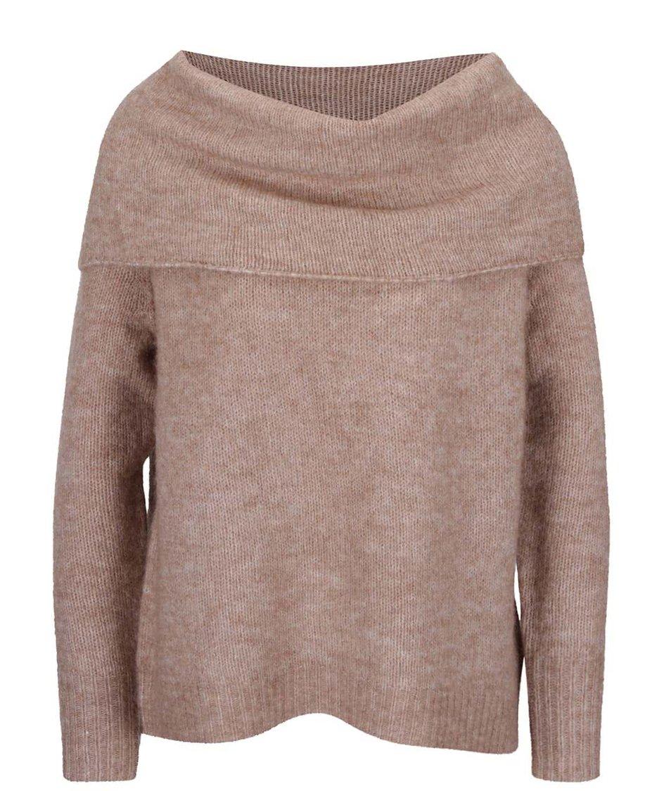 Světle hnědý oversize svetr s vysokým límcem ONLY Bergen