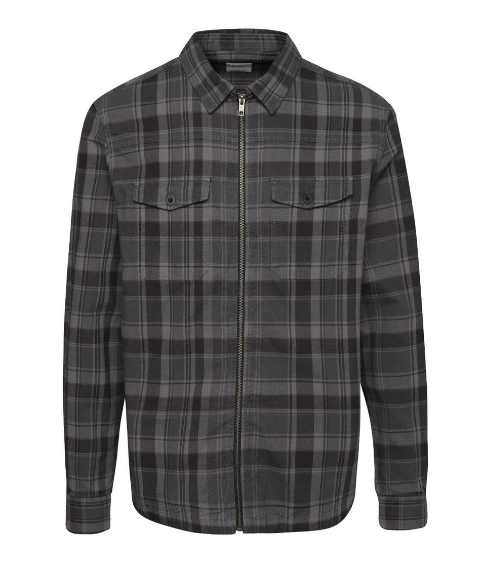Šedo-černá károvaná lehká bunda  Burton Menswear London