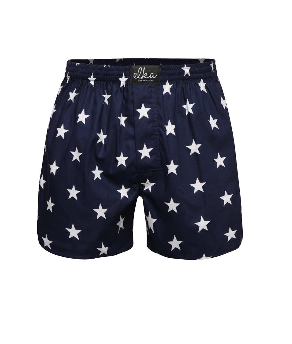 Tmavě modré pánské trenýrky s motivem hvězd El.Ka Underwear