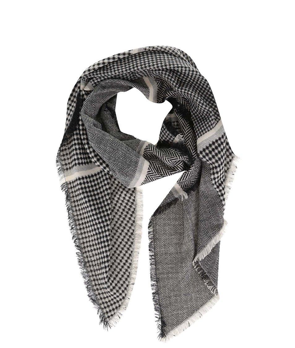 Krémovo-černá vzorovaná šála Dorothy Perkins