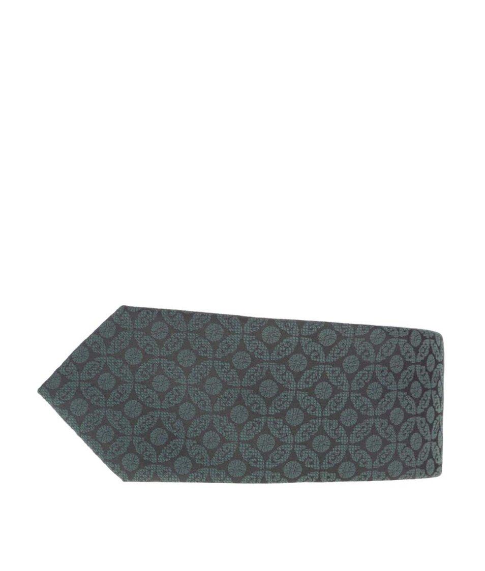 Tmavě zelená kravata s jemným vozrem Burton Menswear London