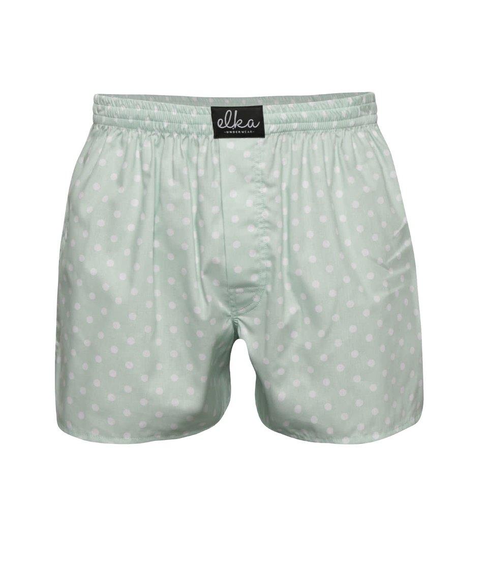 Mentolové pánské puntíkované trenýrky El.Ka Underwear