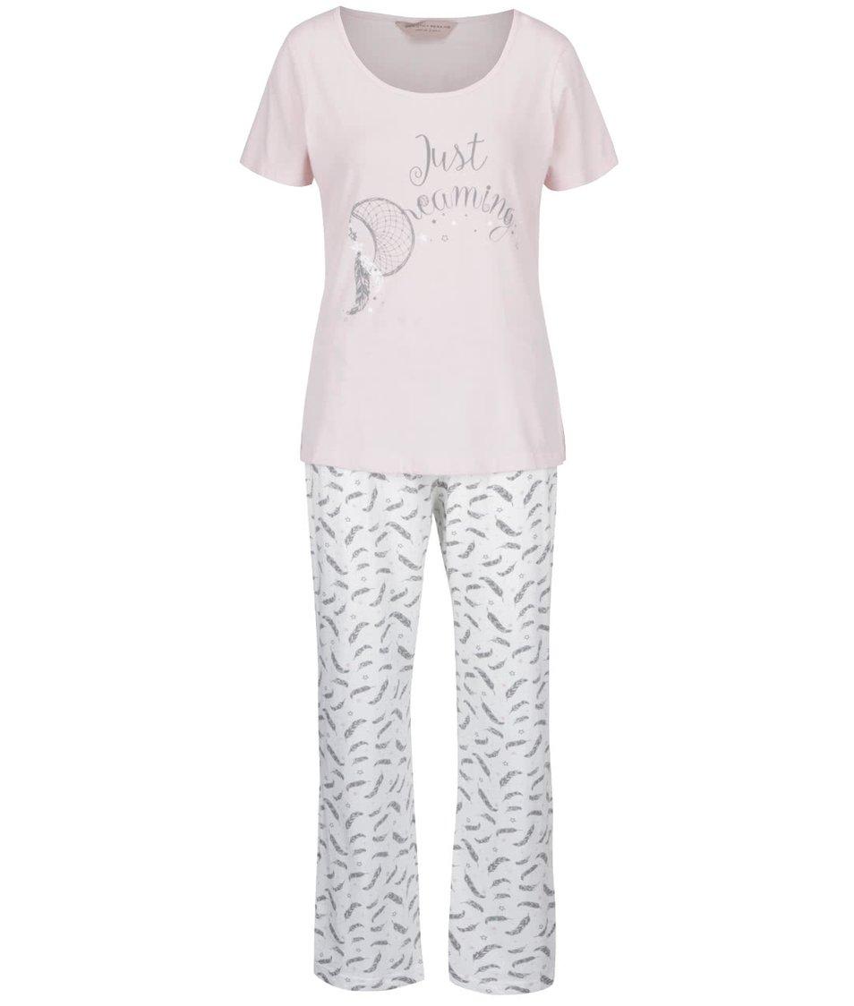 Světle růžové pyžamo s pírky Dorothy Perkins