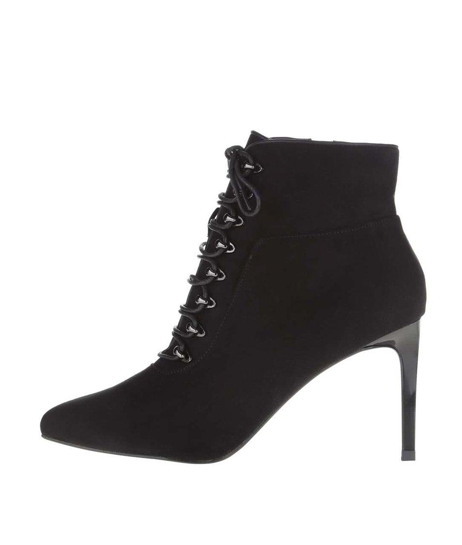 Černé kotníkové boty na jehlovém podpatku Miss Selfridge