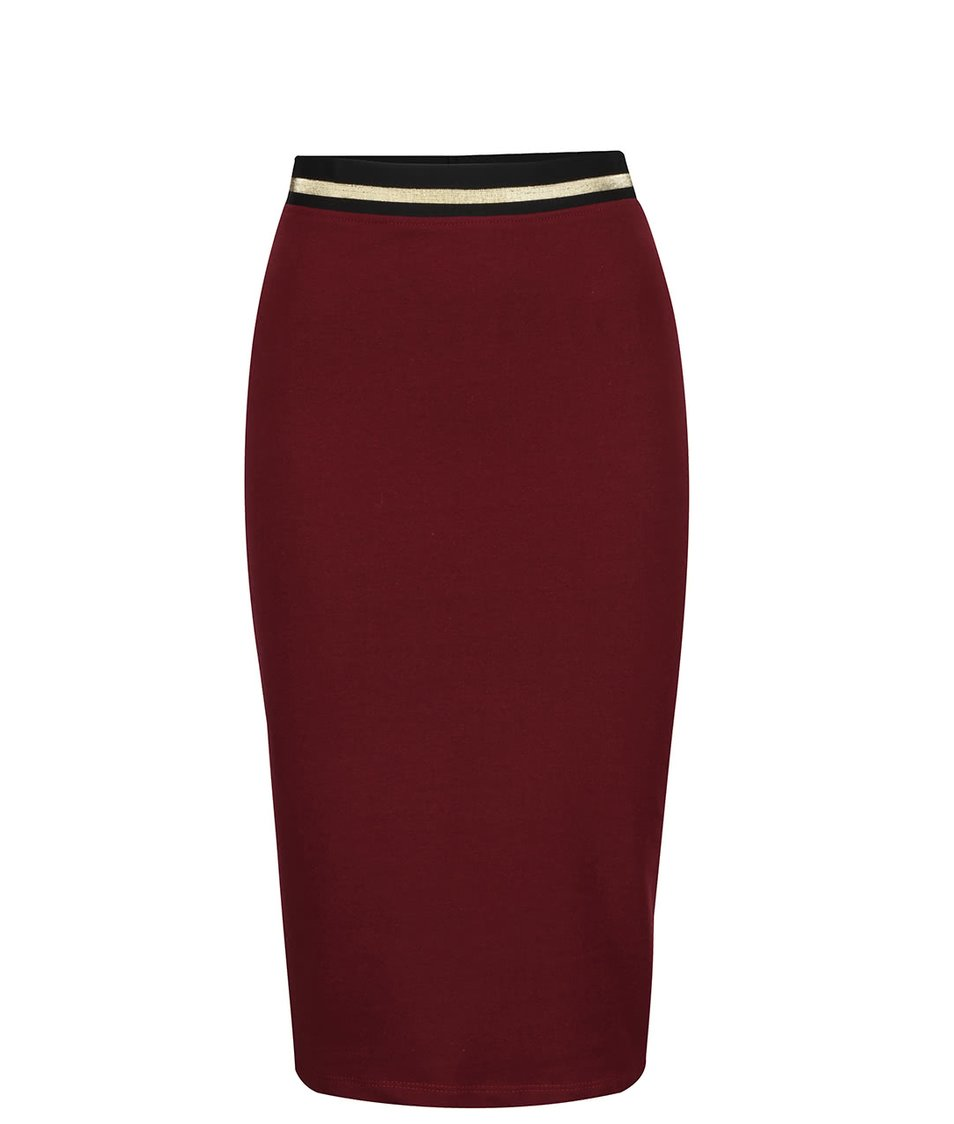 Vínová přiléhavá sukně s pružnou gumou v pase ZOOT