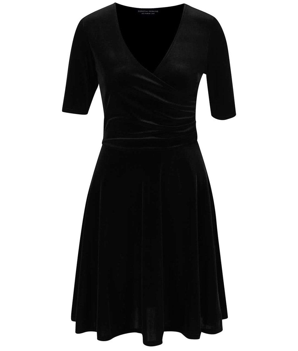 Černé sametové šaty s překládaným výstřihem Dorothy Perkins