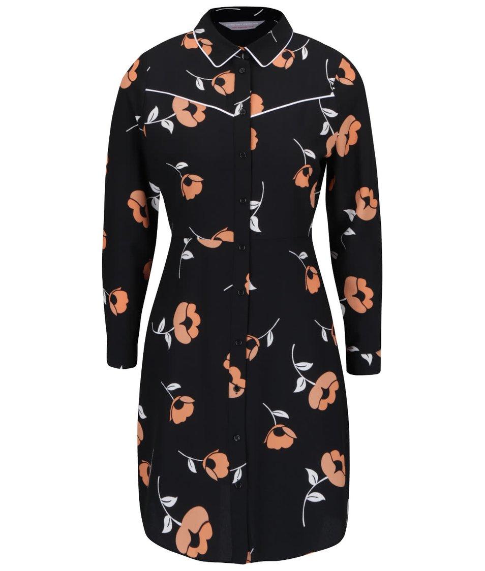 Černá propínací tunika s oranžovými květy Dorothy Perkins Petite