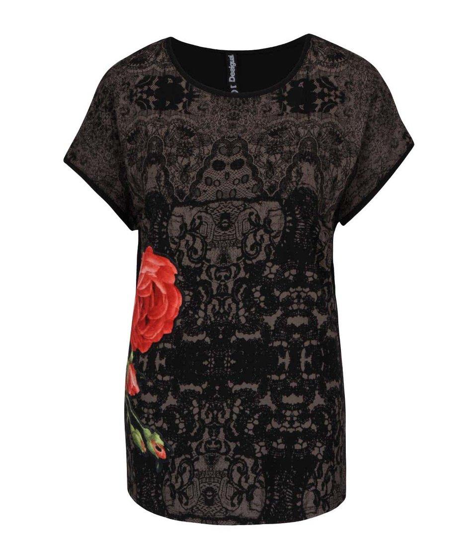 Černé vzorované tričko s nášivkou Desigual Perla