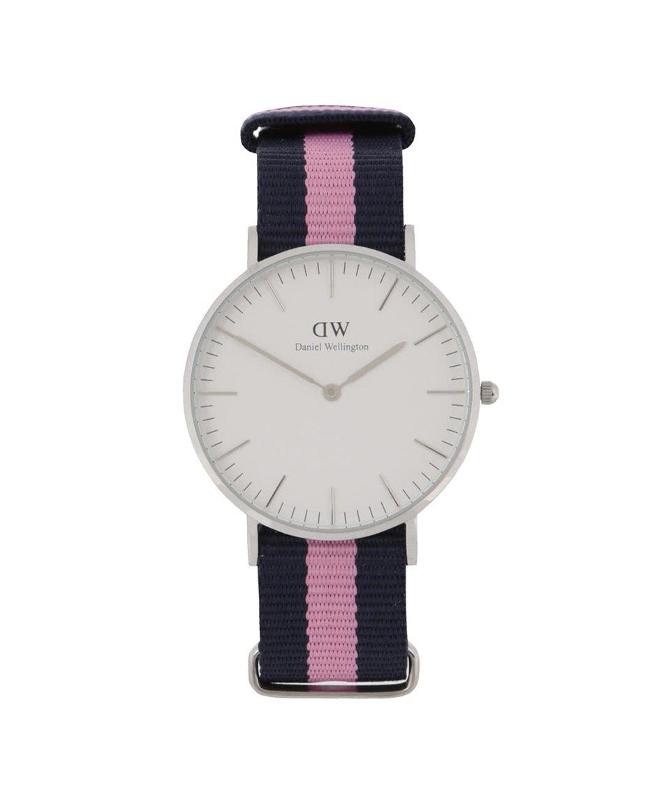 Modré dámské hodinky s detailem ve stříbrné barvě CLASSIC Winchester Daniel Wellington