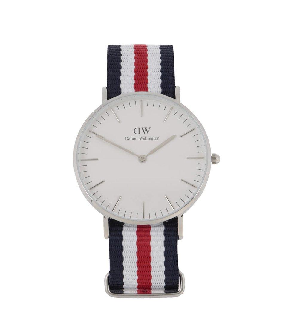 Červeno-modré dámské hodinky s detaily ve stříbrné barvě CLASSIC Cantebury Daniel Wellington
