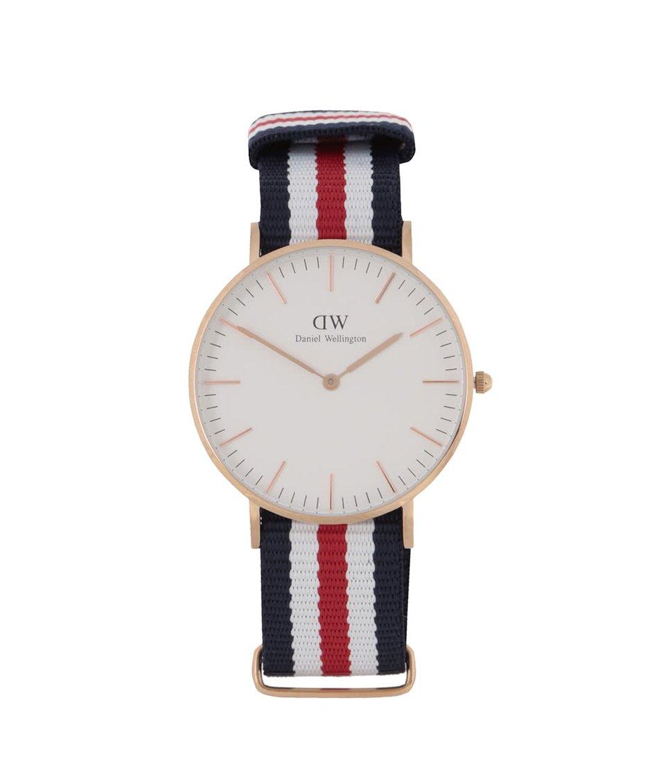 Červeno-modré dámské hodinky s detaily ve zlaté barvě CLASSIC Cantebury Daniel Wellington