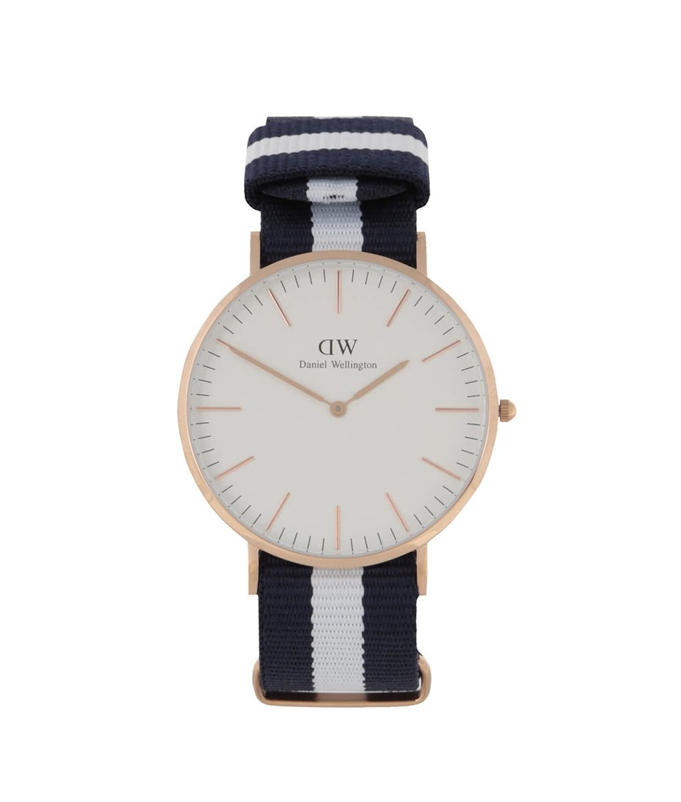 Krémovo-modré pásnké hodinky CLASSIC Glasgow Daniel Wellington