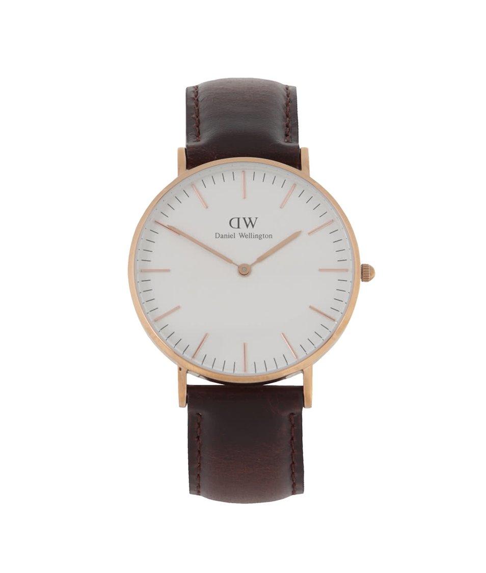 Tmavě hnědé dámské hodinky s koženým páskem CLASSIC Bristol Daniel Wellington