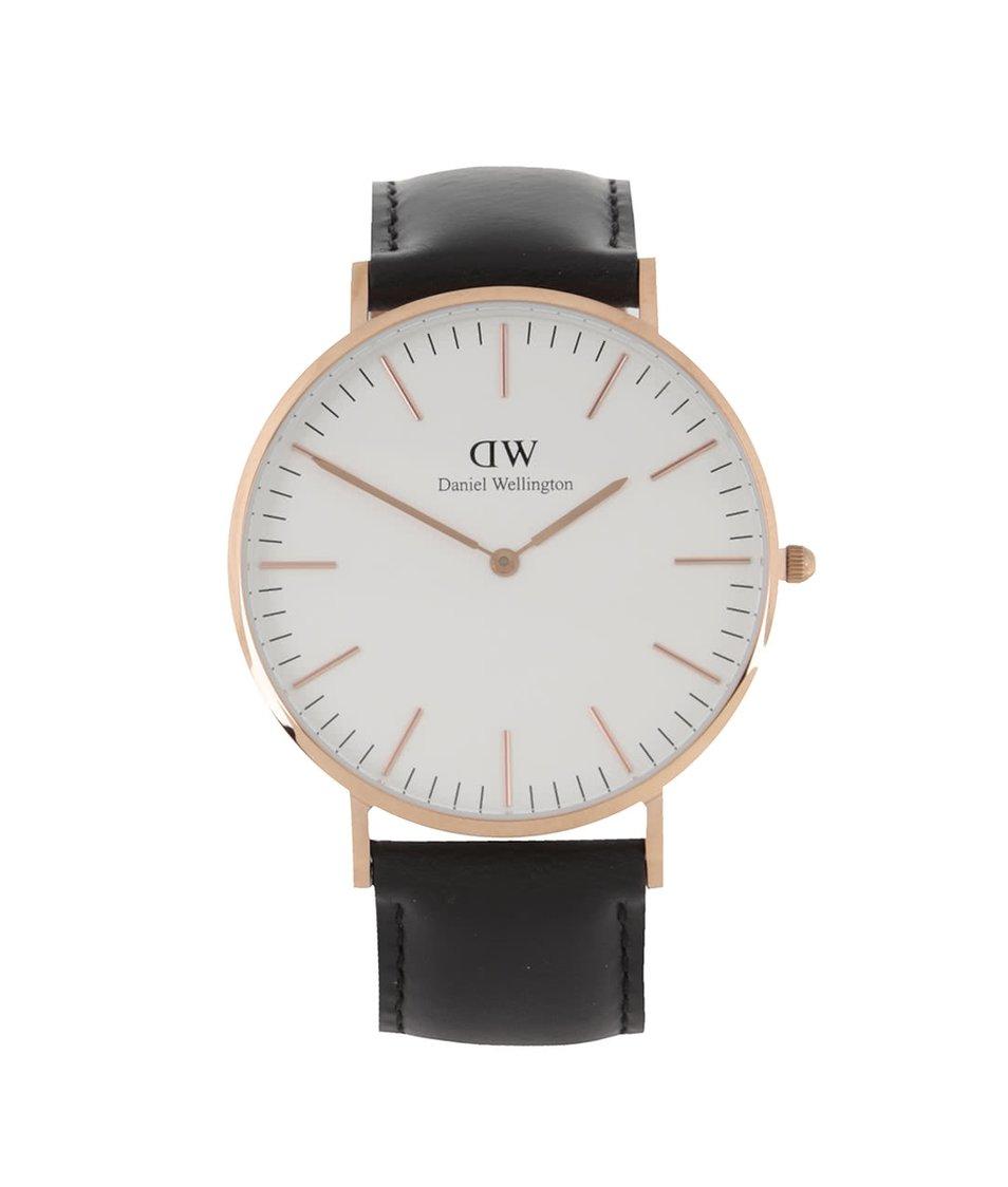 Černé pánské hodinky s koženým páskem CLASSIC Sheffield Daniel Wellington