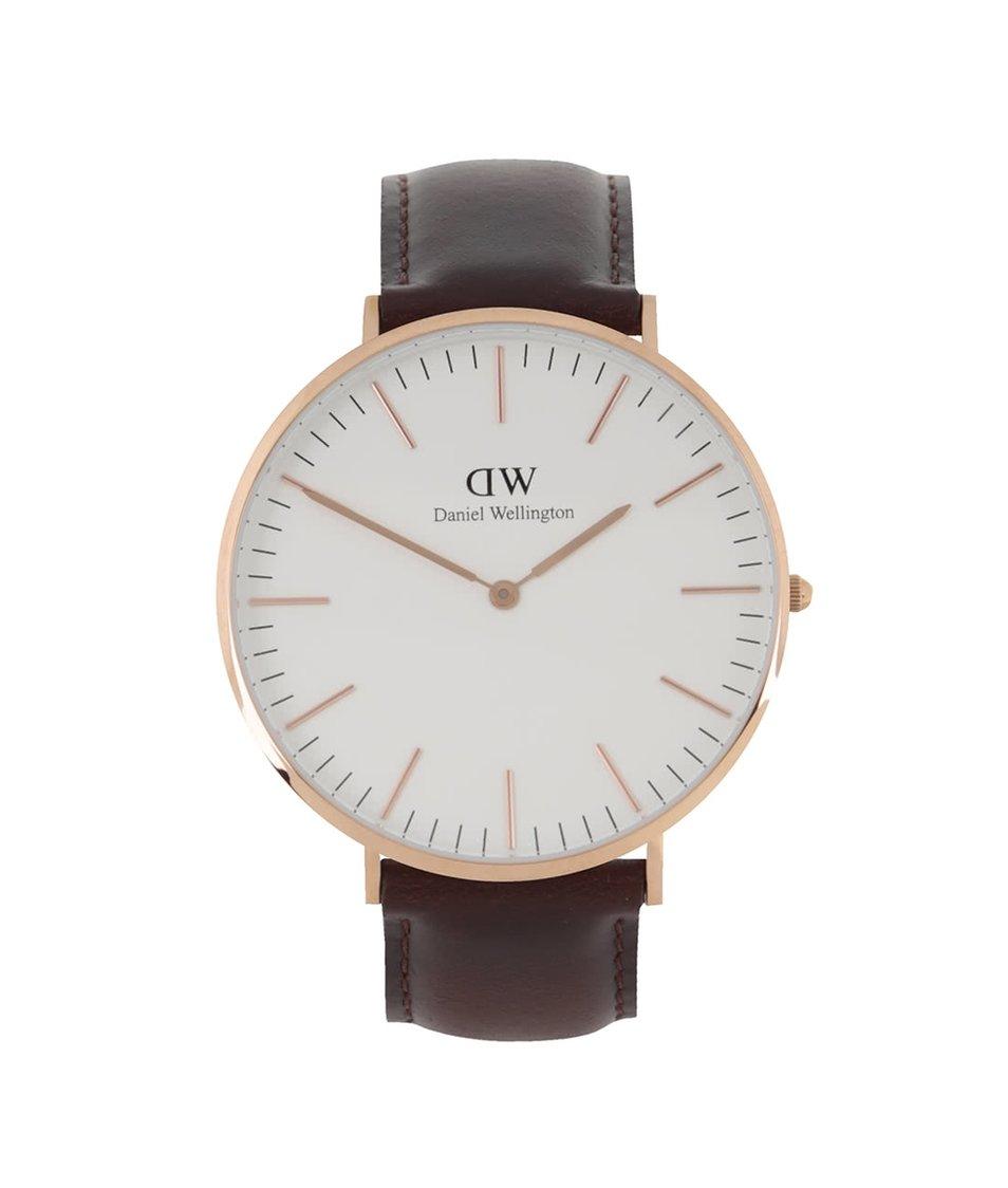 Tmavě hnědé pánské hodinky s koženým páskem CLASSIC Bristol Daniel Wellington