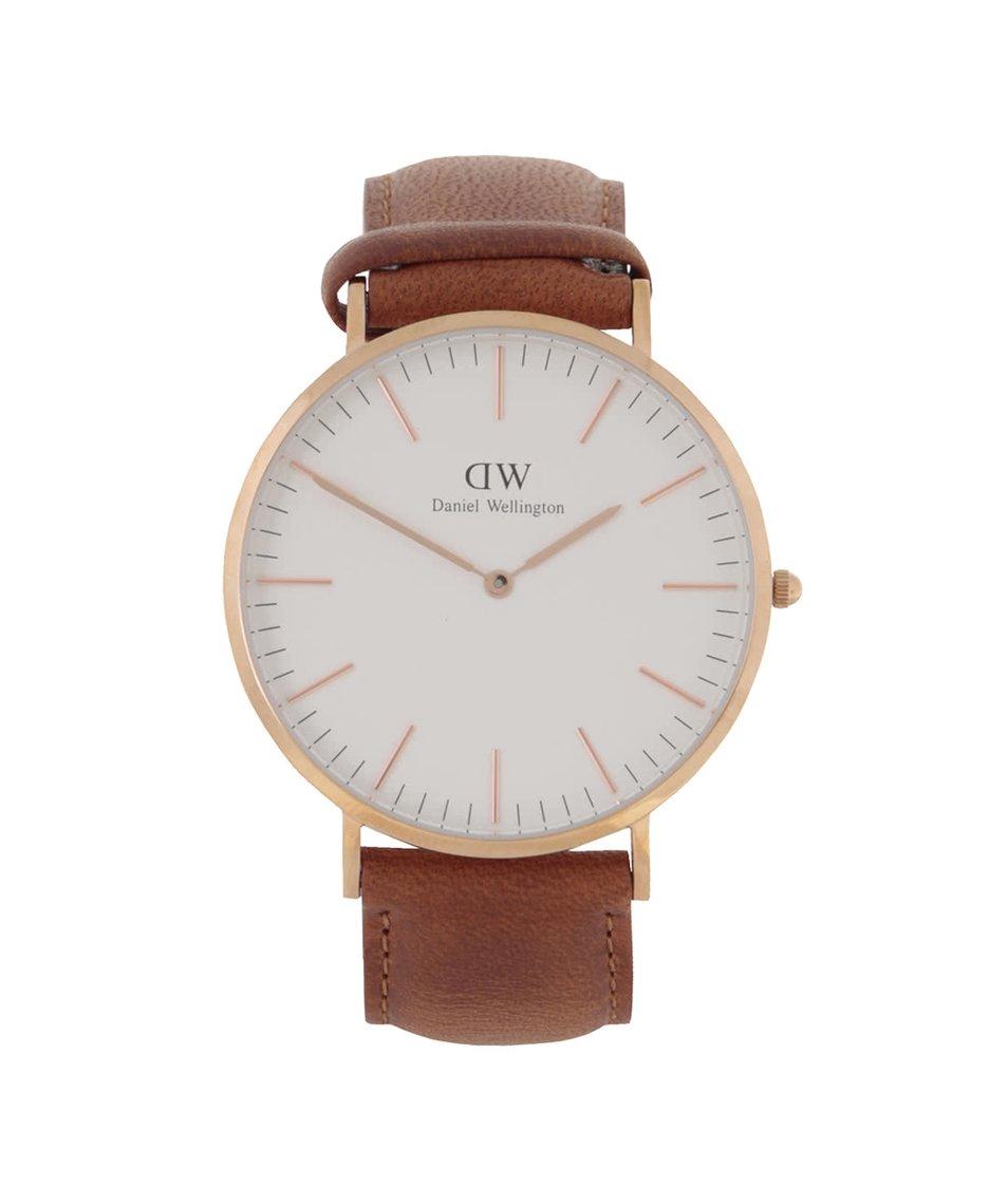 Hnědé pánské hodinky s koženým páskem CLASSIC Durham Daniel Wellington