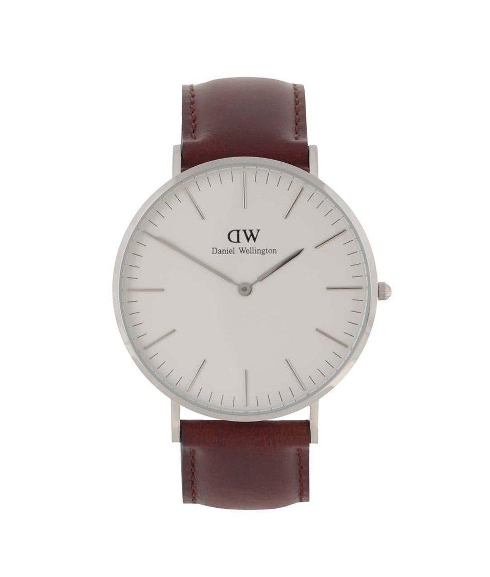 Hnědé pánské hodinky s koženým páskem CLASSIC St. Mawes Daniel Wellington