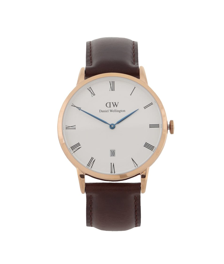 Hnědé pánské hodinky s koženým páskem DAPPER Bristol Daniel Wellington