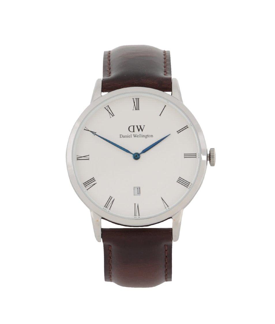 Tmavě hnědé pánské hodinky s koženým páskem DAPPER Bristol Daniel Wellington