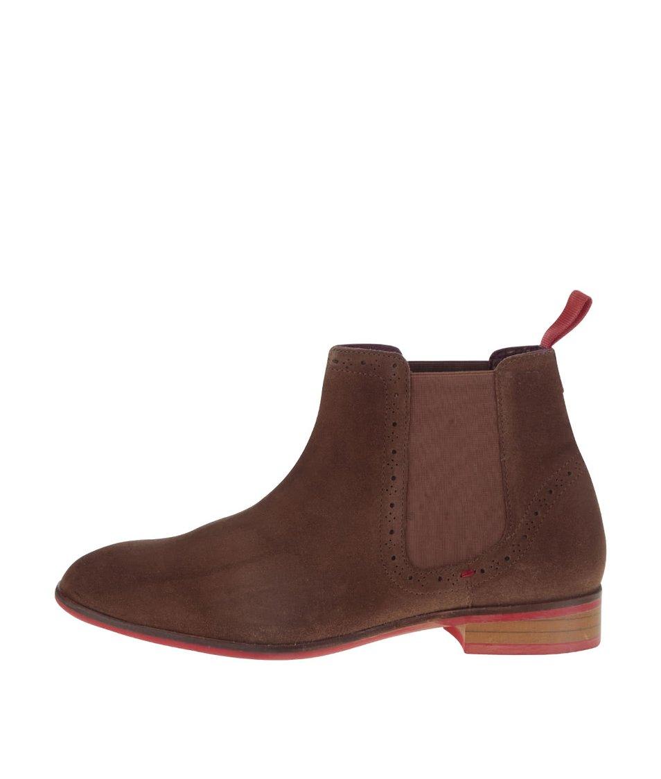Světle hnědé semišové chelsea boty London Brogue