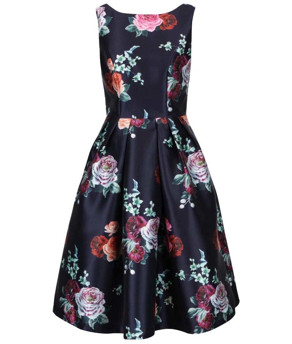 Tmavě modré šaty s květovaným vzorem Chi Chi London