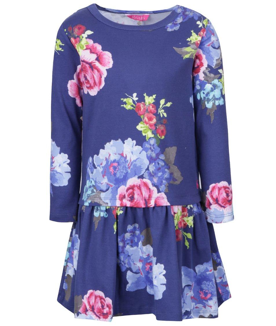 Modré holčičí šaty s květy a dlouhým rukávem Tom Joule Paula