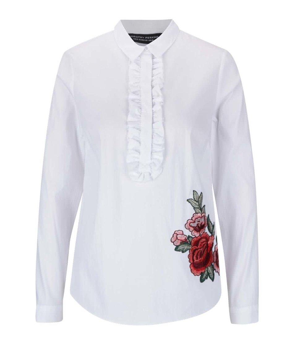 Bílá košile s volánky a nášivkou s motivem růží Dorothy Perkins