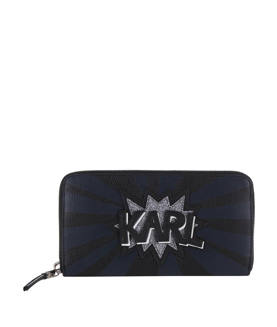 Modro-černá peněženka na zip s nápisem KARL LAGERFELD